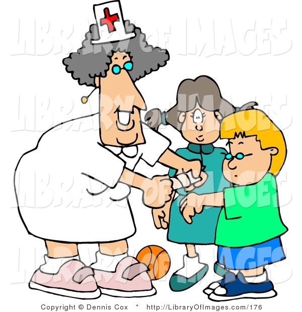 Clip Art of a Smiling Female School Nurse Putting a Bandage on a Boo-Boo of a School Boy