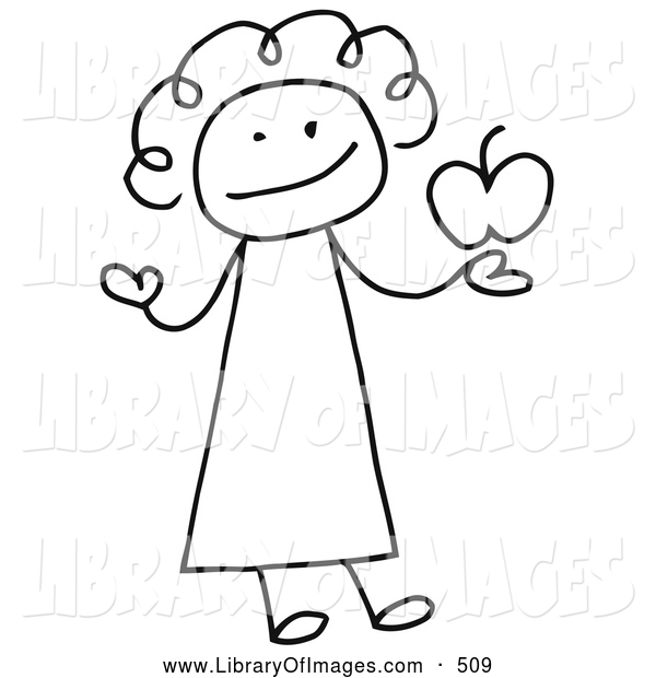Clip Art of a Smiling Female Stick Person Teacher Holding an Apple