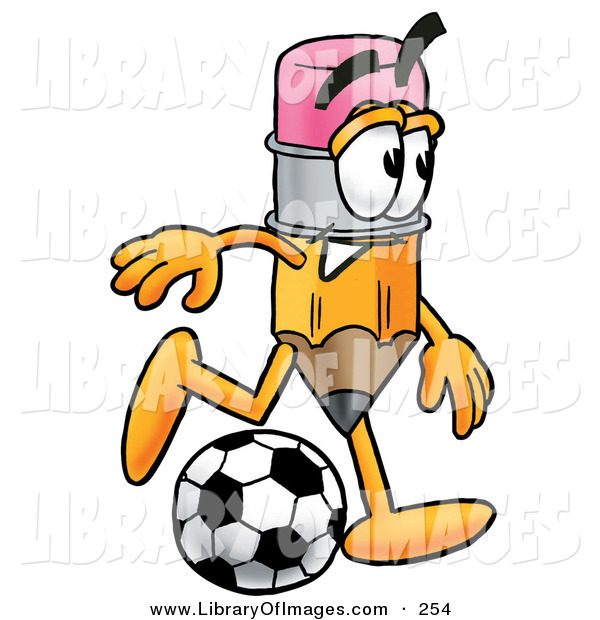 Clip Art of a Smiling Pencil Mascot Cartoon Character Kicking a Soccer BallSmiling Pencil Mascot Cartoon Character Kicking a Soccer Ball