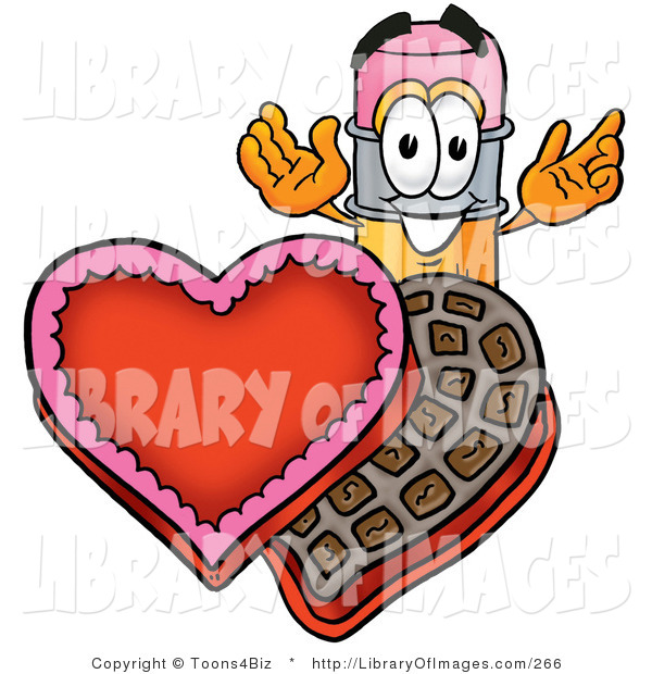 Clip Art of a Smiling Pencil Mascot Cartoon Character with an Open Box of Valentines Day Chocolate Candies