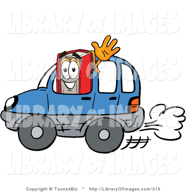 Clip Art of a Smiling Red Book Mascot Cartoon Character Driving a Blue Car and Waving