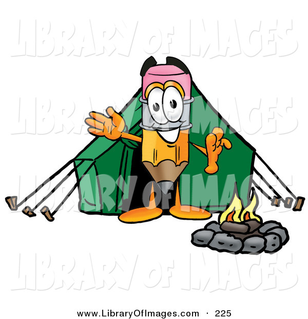 Clip Art of a Sporty Pencil Mascot Cartoon Character Camping with a Tent and Fire
