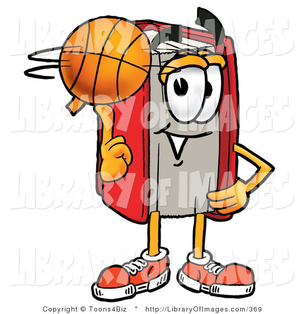 Clip Art of a Sporty Red Book Mascot Cartoon Character Spinning a Basketball on His Finger
