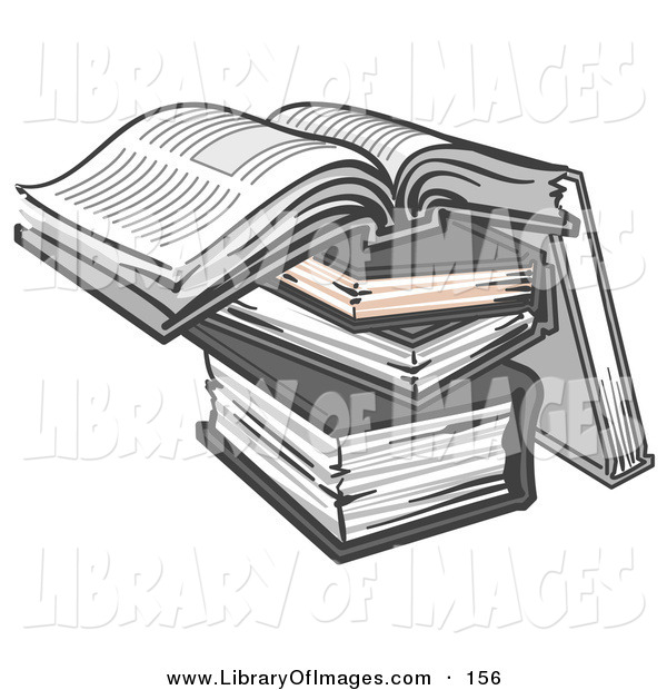 Clip Art of a Stack of Books, One Open on Top