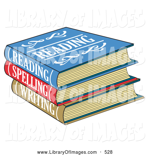 Clip Art of a Stack of Colorful Reading, Spelling and Writing School Books Textbooks