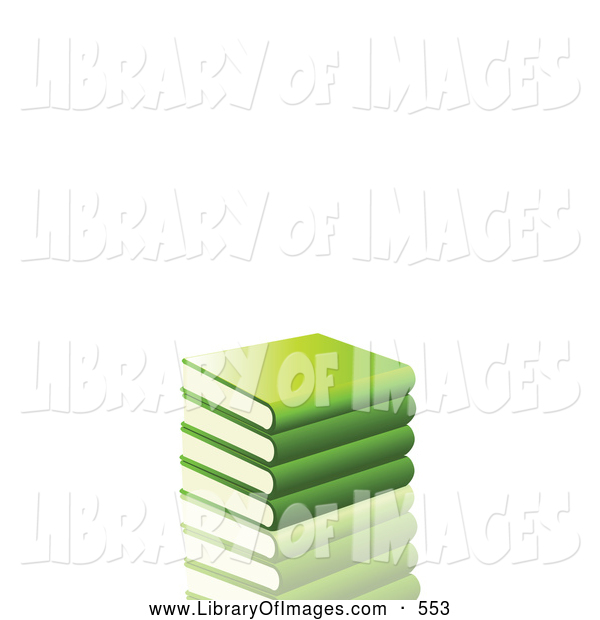 Clip Art of a Stack of Green School Library Books Resting on a Reflective Surface