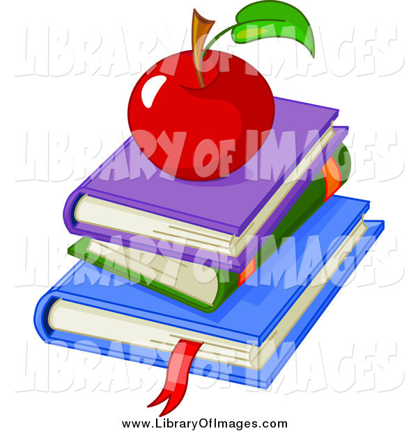 Clip Art of a Stack of School Books and a Red Apple