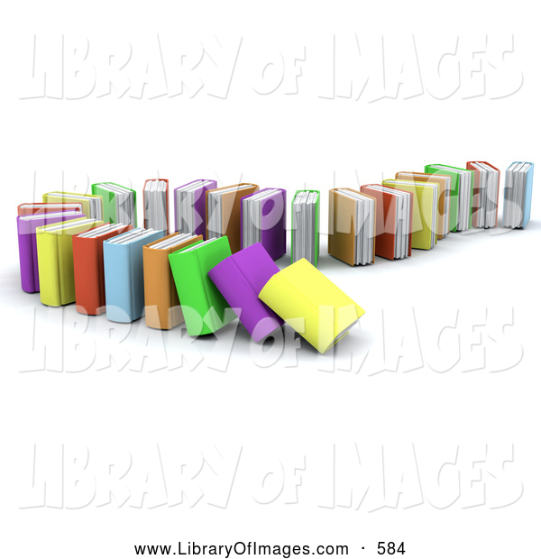 Clip Art of a Standing Row of Colorful Domino Books Collapsing