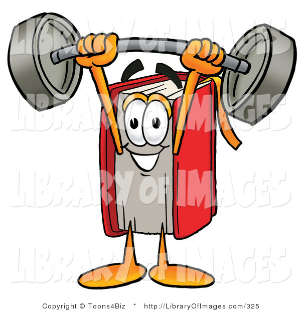 Clip Art of a Strong Red Book Mascot Cartoon Character Holding a Heavy Barbell Above His Head