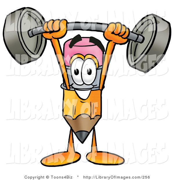 Clip Art of a Strong Yellow Pencil Mascot Cartoon Character Holding a Heavy Barbell Above His Head