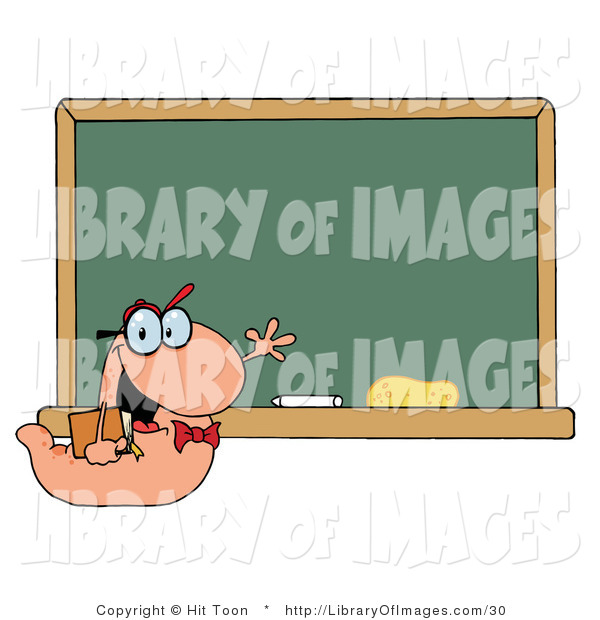 Clip Art of a Student Bookworm Smiling and Waving by a Classroom Chalkboard