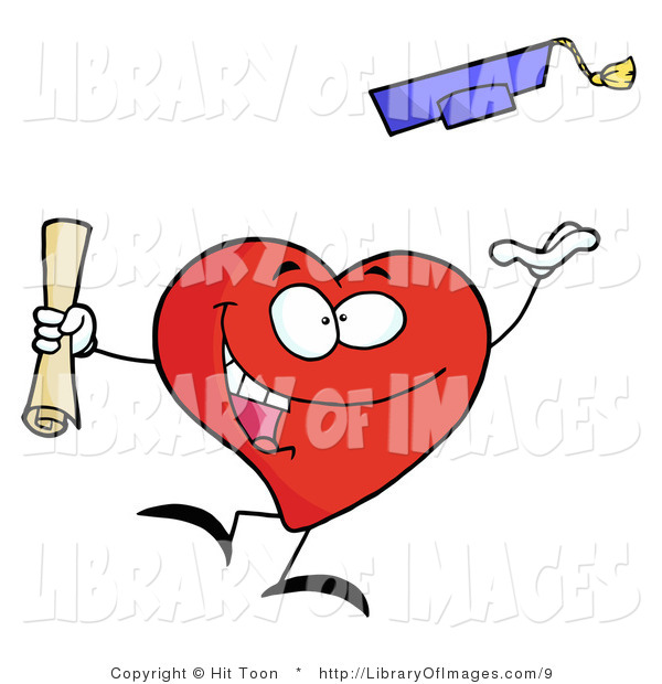 Clip Art of a Successful Graduating Heart Character Holding a Diploma and Tossing His Cap