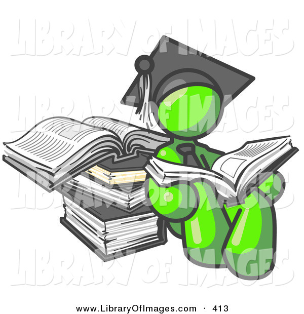 Clip Art of a Successful Lime Green Male Student in a Graduation Cap, Reading a Book and Leaning Against a Stack of Books