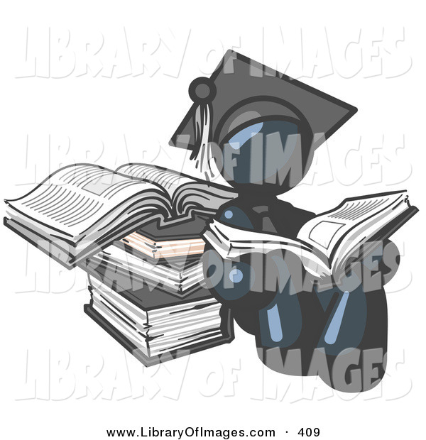 Clip Art of a Successful Navy Blue Student in a Graduation Cap, Reading a Book and Leaning Against a Stack of Books
