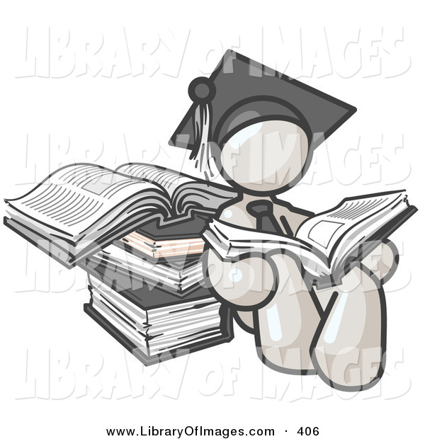 Clip Art of a Successful White Male Student in a Graduation Cap, Reading a Book and Leaning Against a Stack of Books