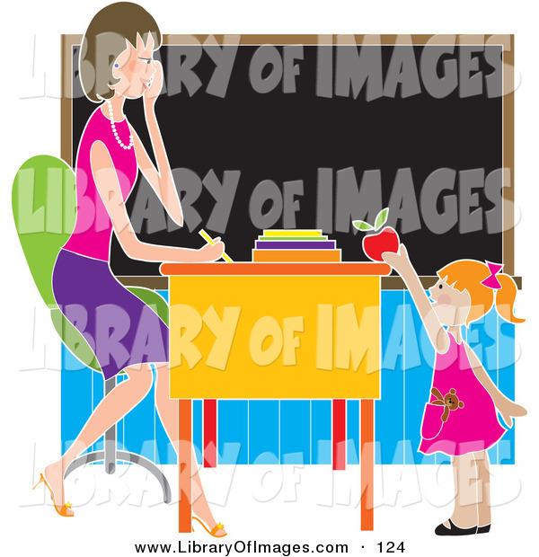 Clip Art of a Sweet or Brown Nosing Red Haired School Girl Child Standing in Front of Her Female Teacher's Desk in a Classroom, Putting a Red Apple on the Desk