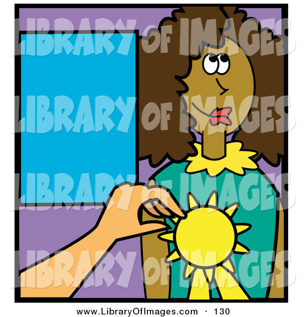 Clip Art of a Teacher Giving a Happy African American Girl an Award for an Educational Feat