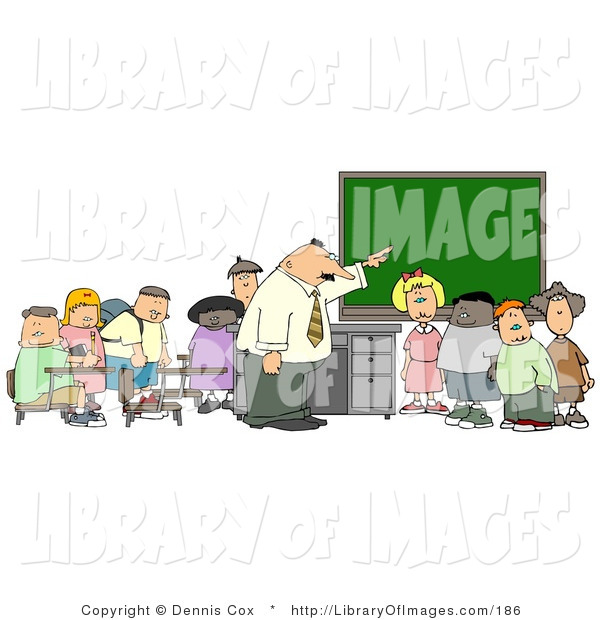 Clip Art of a Teacher Pointing to the Chalkboard for His Elementary Students in Classroom