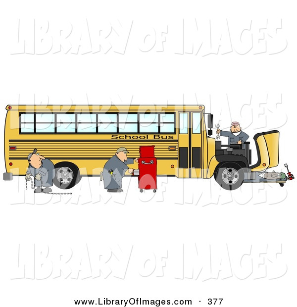 Clip Art of a Team of Mechanics Working on the Engine of a Broken down Yellow School Bus on White