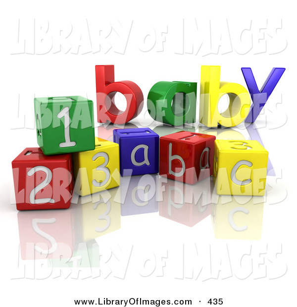 Clip Art of a the Colorful Word Baby Behind Number and Alphabet Toy Blocks on a Reflective White Surface on White