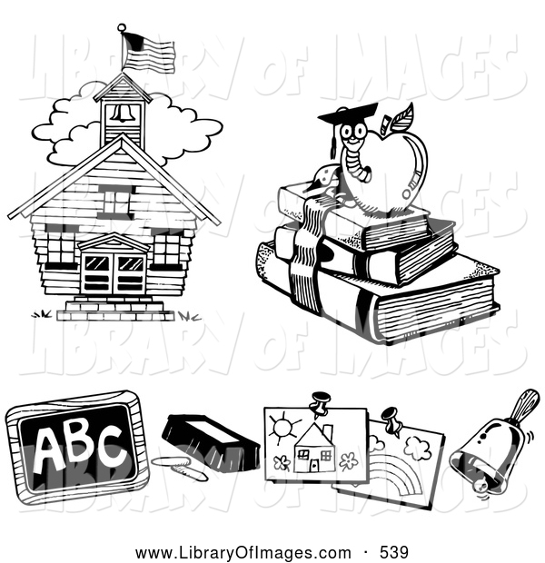 Clip Art of a Three Black and White Icons of a School House, Book Worm, Chalk and Chalkboard, Children