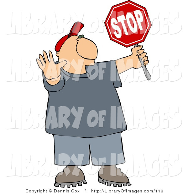Clip Art of a Traffic Control Man Holding up a Stop Sign so Pedestrians Can Cross the Street