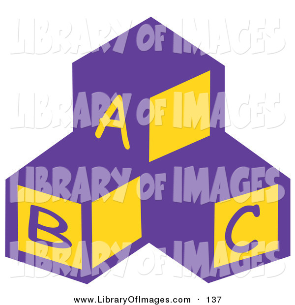 Clip Art of a Trio of Blocks in a Nursery Room with the Letters A, B and C