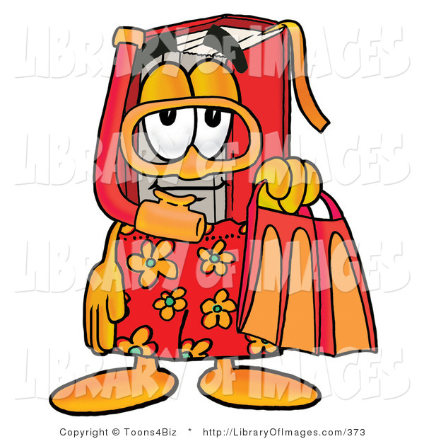 Clip Art of a Vacationing Red Book Mascot Cartoon Character in Orange and Red Snorkel Gear