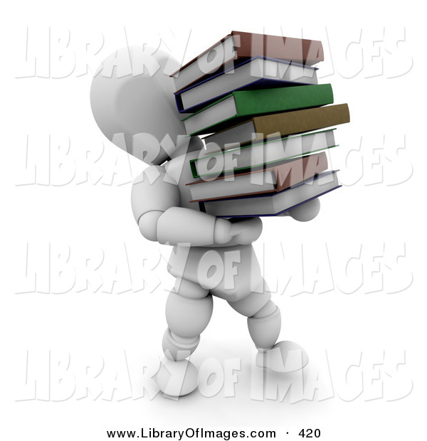 Clip Art of a White Character Man Carrying a Heavy Stack of School or Library Books