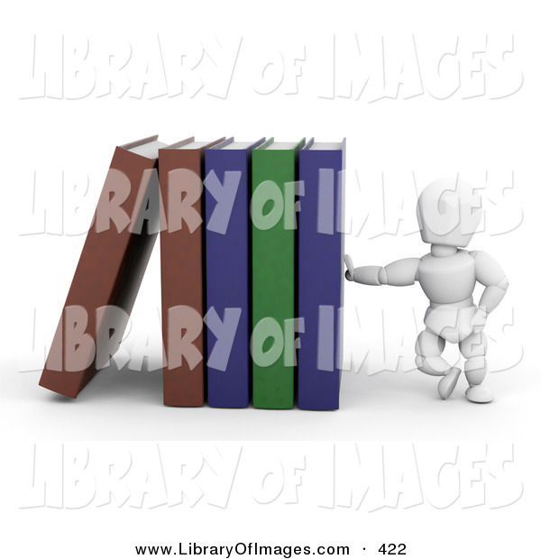 Clip Art of a White Character Man Leaning Against a Row of Library Books