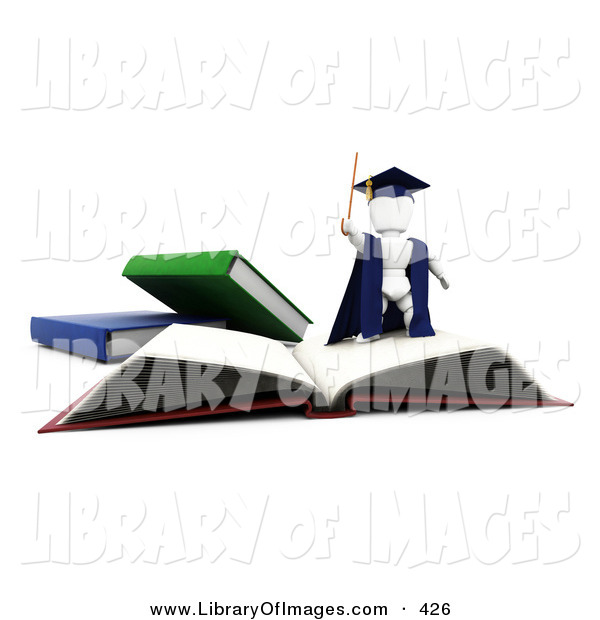 Clip Art of a White Character Man Teacher in a Cap and Gown, Waving a Cane and Standing on Top of an Open School Book