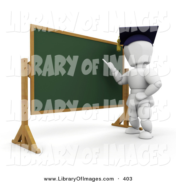 Clip Art of a White Character Person Teacher Wearing a Graduation Cap, Standing in Front of a Chalkboard and Teaching a Class