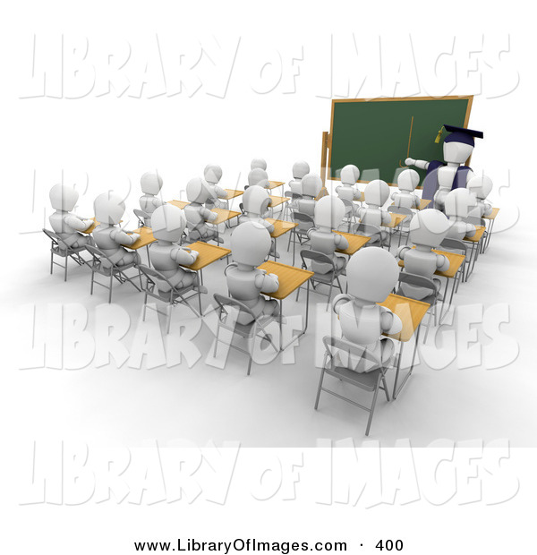 Clip Art of a White Character Teacher Man in a Cap and Gown, Pointing to a Blank Chalkboard While Teaching a Full Class of School Students