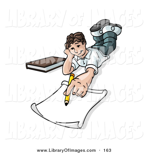 Clip Art of a White Elementary School Boy Lying on His Stomach and Doing Homework or Drawing