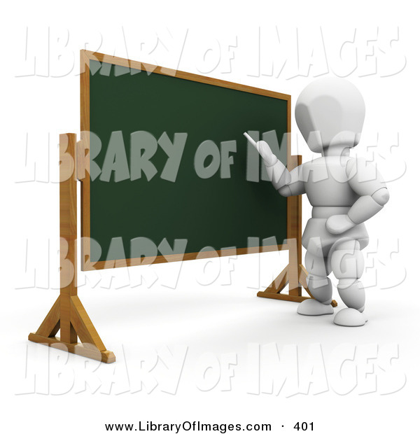 Clip Art of a White Man Standing in Front of a Chalkboard and Teaching a Class