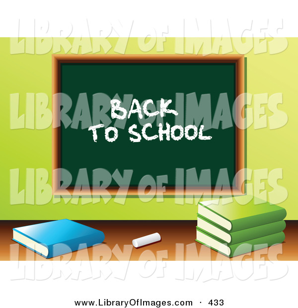 "Clip Art of a White Piece of Chalk and School Books in Front of a Green Chalkboard with ""Back to School"" Written on It in a Class Room"