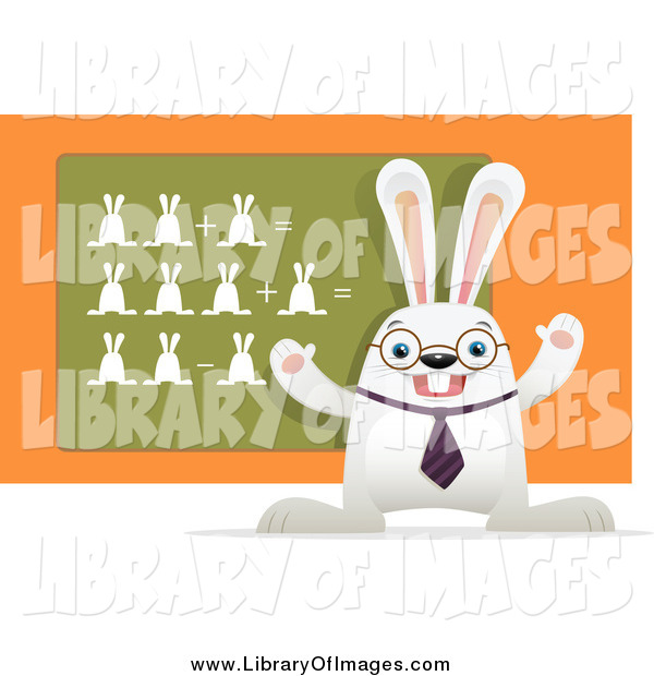 Clip Art of a White Rabbit Teaching a Math Class, with Bunnies on a Chalk Board