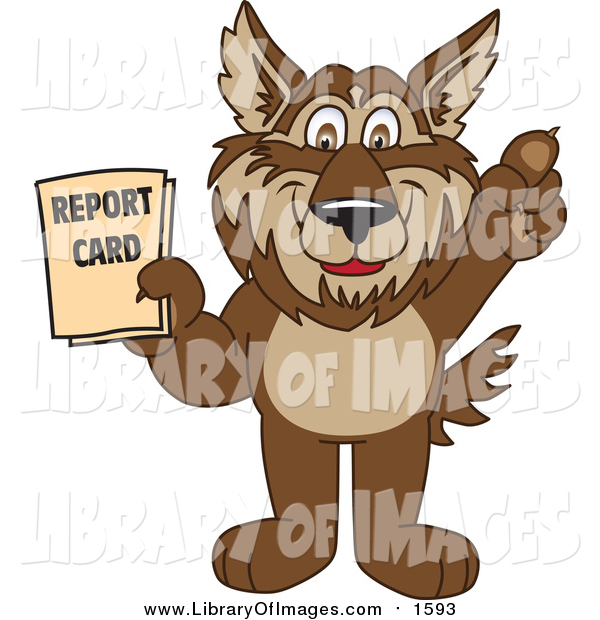 Clip Art of a Wolf School Mascot Holding up a Report Card