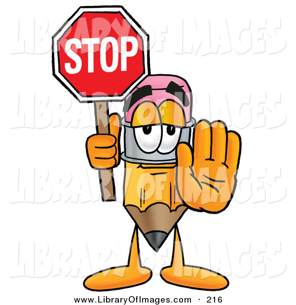 Clip Art of a Yellow Pencil Mascot Cartoon Character Holding a Stop Sign