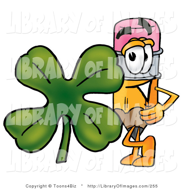 Clip Art of a Yellow Pencil Mascot Cartoon Character with a Green Four Leaf Clover on St Paddy's or St Patricks Day