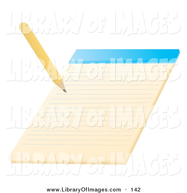 Clip Art of a Yellow Pencil Writing on a Notepad School