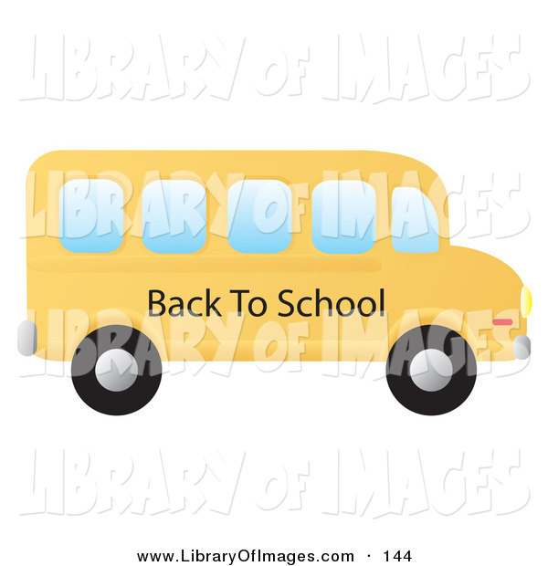 Clip Art of a Yellow School Bus Driving to the Right