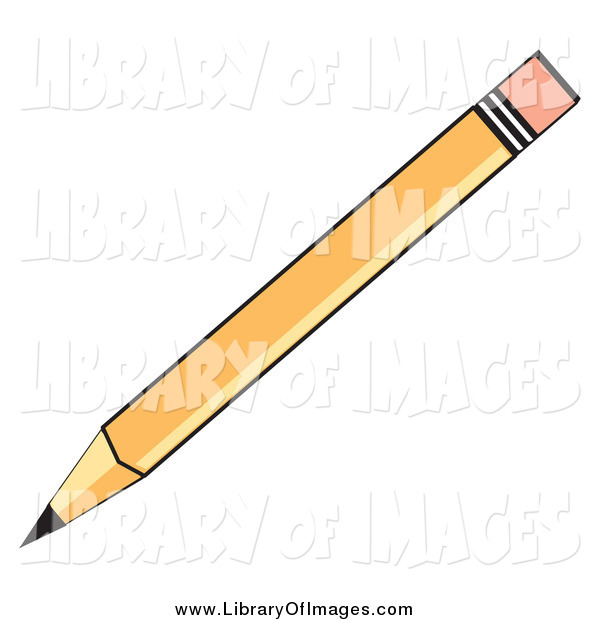 Clip Art of a Yellow School Pencil with an Eraser Tip