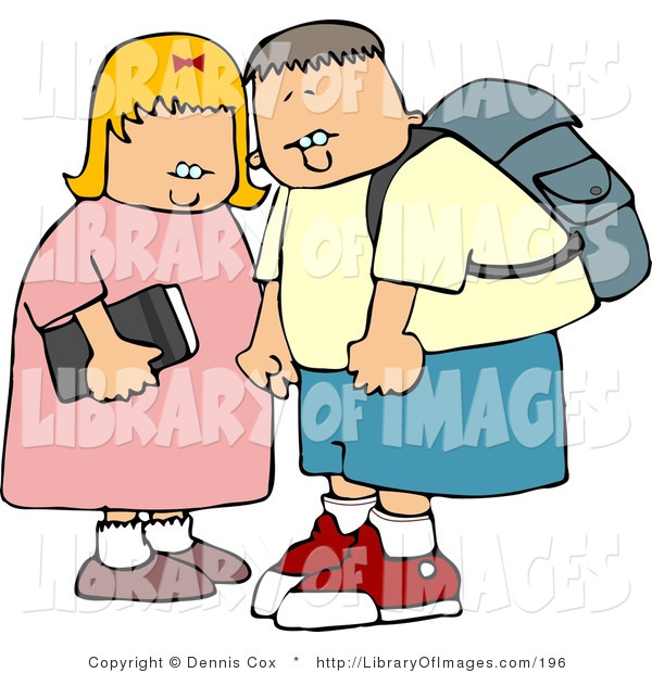 Clip Art of a Young Brother and Sister on Their Way to Elementary School