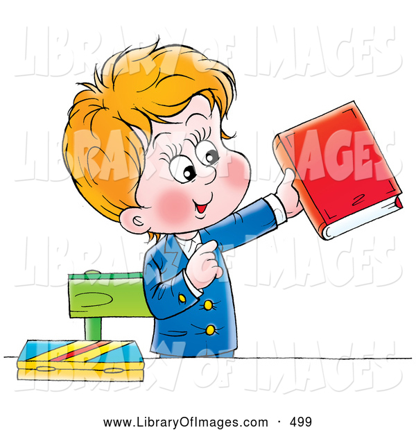 Clip Art of a Young School Boy in His Uniform, Standing and Holding a Book