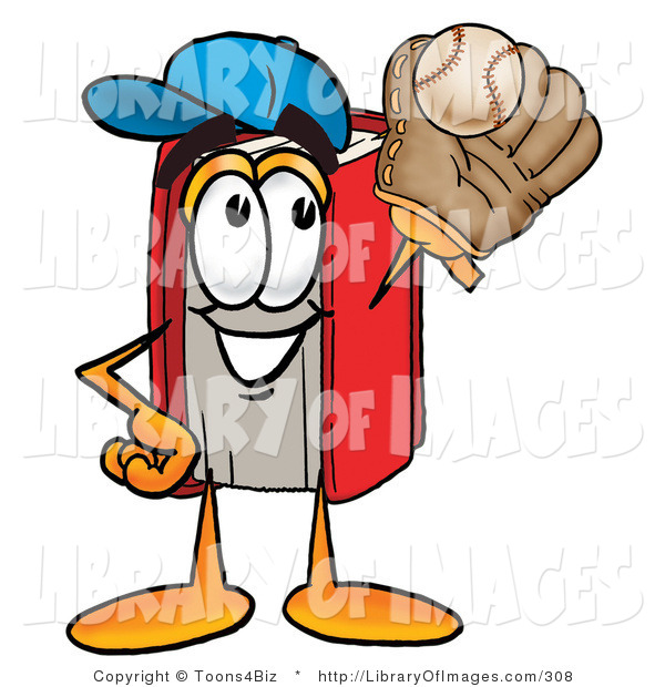 Clip Art of an Athletic Red Book Mascot Cartoon Character Catching a Baseball with a Glove