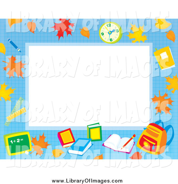 Clip Art of an Educational Border with Leaves, a Clock, Books and Backpack Around White Space