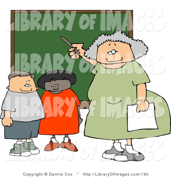 Clip Art of an Elderly Female Elementary School Teacher Teaching Students in a Classroom on a Chalkboard