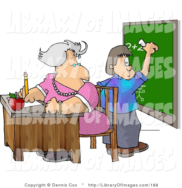 Clip Art of an Elderly Female Math Teacher Watching Student Write a Math Equation on a Chalkboard