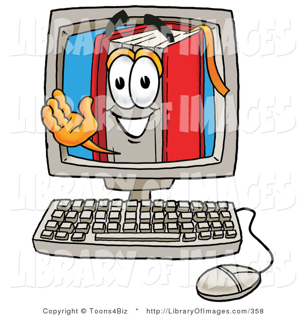 Clip Art of an Intelligent Red Book Mascot Cartoon Character Waving from Inside a Computer Screen
